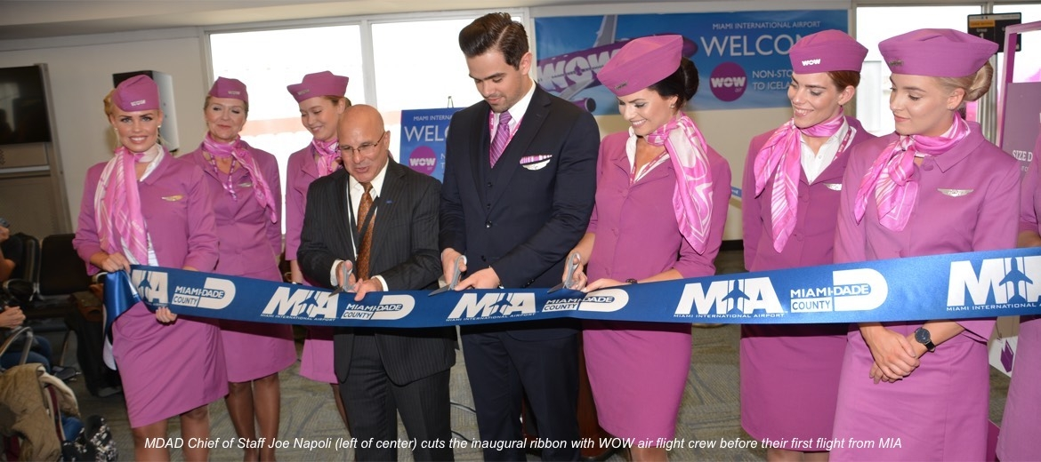 MIA celebrates inaugural Miami-Reykjavik flight by WOW air